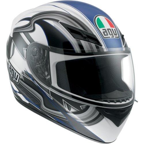 AGV K3 Chicane Full Face Motorcycle Helmet (White/Blue, Large)