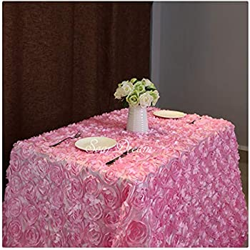 Fanqisi Satin 50x102 Inches Pink Rectangle Overlay Rosette Fabric Tablecloth 3D Floral Tablecloth for Christmas Wedding Event