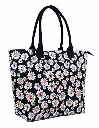 Holiday Bag Flower Ladies Daisy Women Large Lightweight Daisy Tote Shopper Beach Fully Black Shoulder Black Bag Flower Lined Canvas qYP6Aq