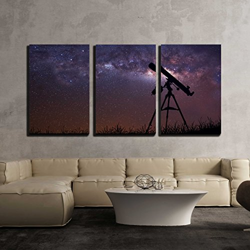 Infinite Space Background with Silhouette of Telescope x3 Panels