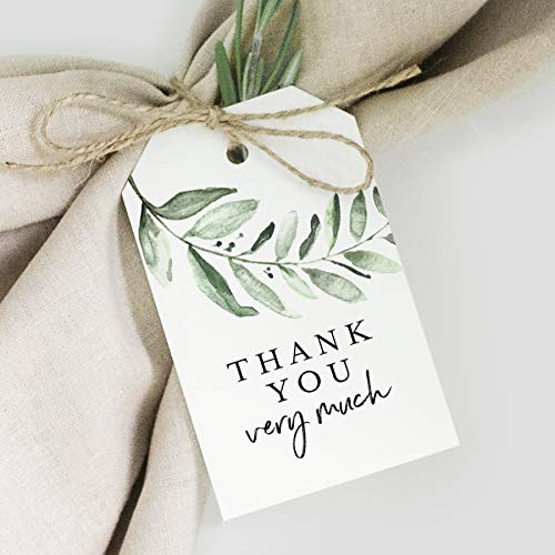 Bliss Collections Greenery Favor Thank You Tags - Perfect for: Wedding Favors, Baby Shower, Bridal Shower, Birthday or Special Event - 50 Pack -
