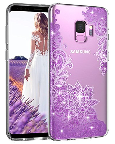 Casetego Compatible Galaxy S9 Case,Clear Glitter Bling Shiny Soft Flexible TPU Case Rubber Silicone Skin with Flowers Floral IMD Printed Back Cover for Samsung Galaxy S9-Bling Purple
