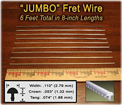Fret Wire for Electric Guitar and Bass - Jumbo Size (Extra Wide and High  Crown) - Six Feet