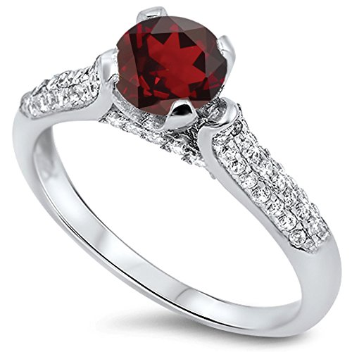 925 Sterling Silver Round Faceted Natural Genuine Red Garnet Wedding Promise Ring Size 6
