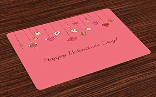 Valentines Day Place Mats Set of 4 by Lunarable, Happy Special Valetines Day Print with Birds Hearts Letters and Keys Print, Washable Placemats for Dining Room Kitchen Table Decoration, Pink and Red (Valetines Gift For Him)