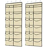 Kootek 2 Pack Over The Door Shoe Organizers, 12 Mesh Pockets + 6 Large Mesh Storage Various Compartments Hanging Shoe Organizer with 8 Hooks Shoes Holder for Closet Bedroom