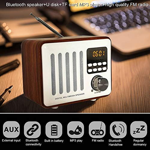 yunbox299 Bluetooth Speaker Wooden Box Retro Wireless FM Radio Digital Multimedia Player