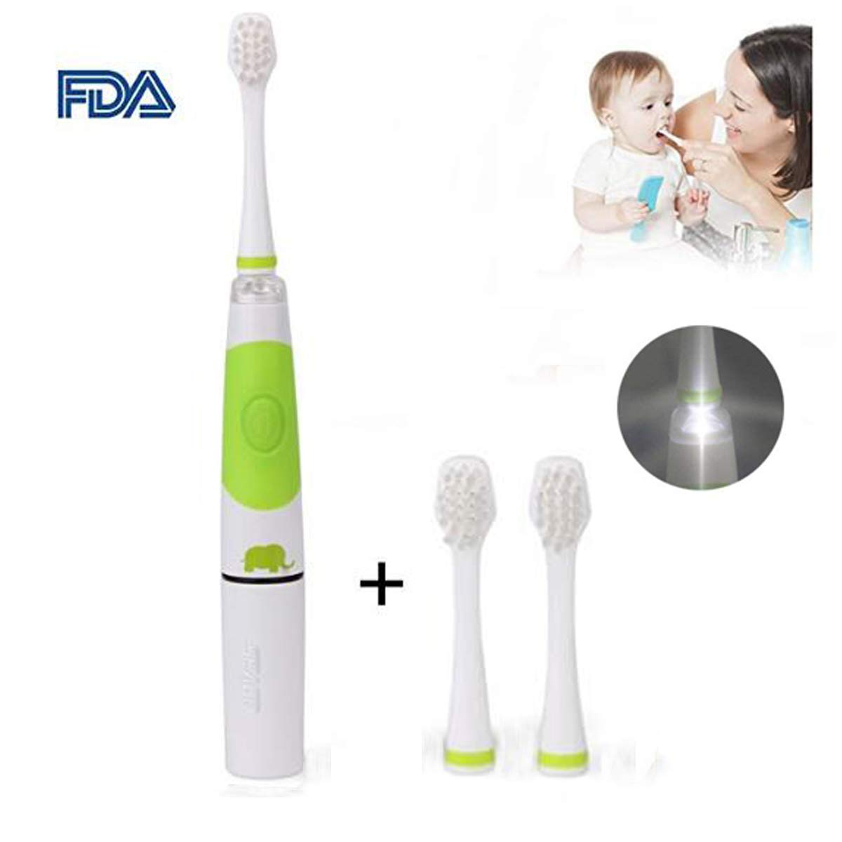 Kids Sonic Electric Toothbrush Smart Toothbrush with LED Lights 2 Replacement Brush Heads for 2 5 Years Baby Toddler Children
