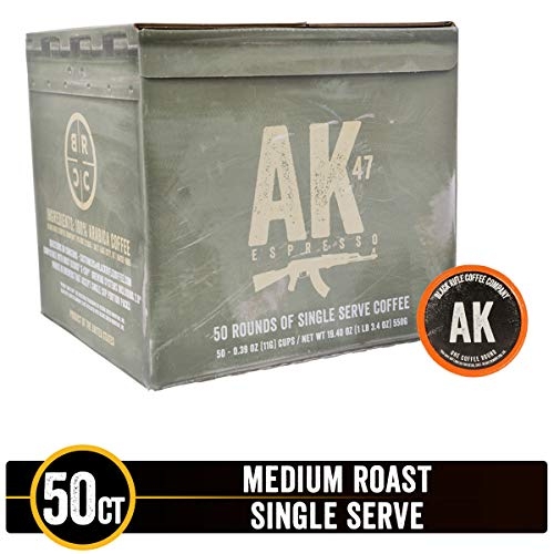 AK-47 Medium Roast Single Serve Coffee Rounds by Black Rifle Coffee Company | 50 Count Coffee Pods | Compatible with Keurig K Cup Brewers | Coffee Lovers Gift