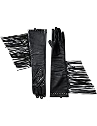 Women's Leather Long Fringed Glove with Detail