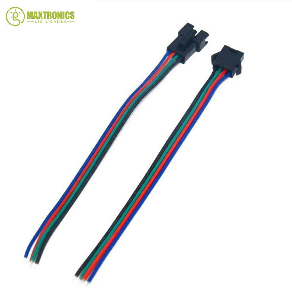 Gimax 500 Pairs 4 Pin JST SM Connector Male to Female JST SM Plug Connector Cable for 5050/3528 RGB LED Strip Light by GIMAX (Image #3)