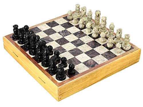 Natural Wood Chess - INA KI Hand Made Gift for Chess Lovers from Natural Wood & Stone , Chess Sets and Board -Indian Handmade Unique Gifts 10 Inches