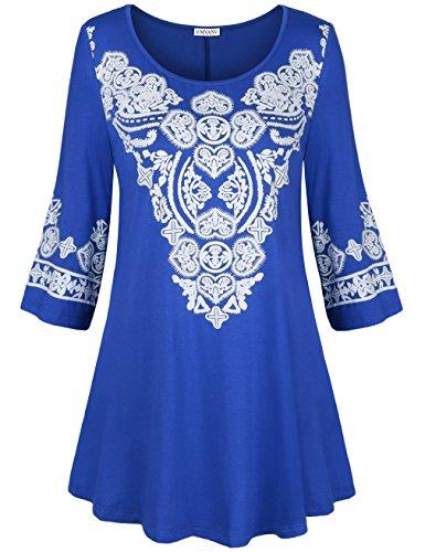 EMVANV Women's 3/18 Sleeve Boho Tunic Shirts Heart Printed Tops Shirts Blue