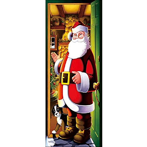 Christmas Window Clings Decal Wall Stickers - Santa Door Cover Christmas New Santa Claus Door Stickers Glass Window Stickers.