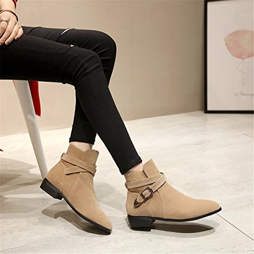 pointed boot yard a apricot short a a A big heel low square AUAxnH