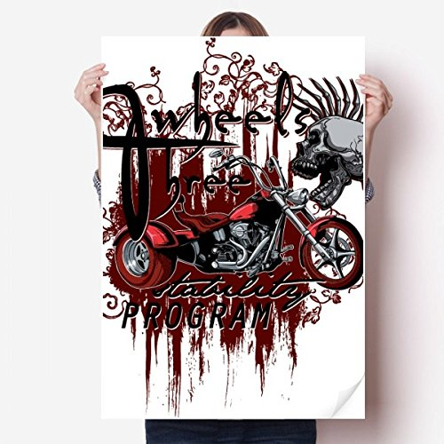 (DIYthinker Graffiti Street Culture Bloody Skeleton Motor Vinyl Wall Sticker Poster Mural Wallpaper Room Decal 80X55cm)