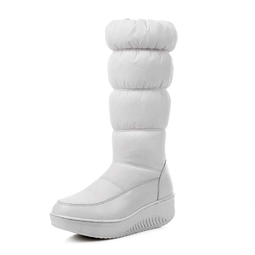 White T-JULY Winter Warm Snow Women Boot Platform Boots Mid Calf Footwear Cleated Female shoes Super Big Size 35-44