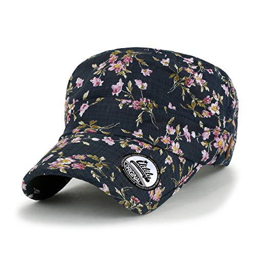 ililily Floral Pattern Printed Military Army Hat Casual Feminine Cadet Cap, Navy
