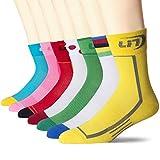 9. Lin 7 Pack Cycling Socks for Men and Women Funny Color Biking Socks Performance Athletic Crew Socks