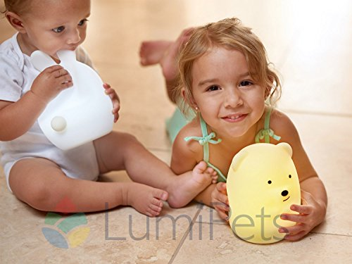 LED Nursery Night Lights for Kids: LumiPets Cute Animal Silicone Baby Night Light with Touch Sensor - Portable and Rechargeable Infant or Toddler Cool Color Changing Bright Nightlight Lamp