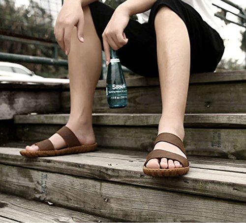 in vera 35 42 Vintage morbida Sandalo 47 antiscivolo pelle Marrone dimensioni spiaggia Scarpe Open Toe romana Marrone Colore dimensioni Confortevole Disegnato Pantofola da Uomo avwqzpBx