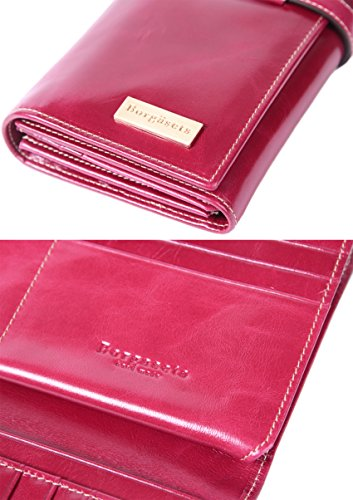 Borgasets Women's Genuine Leather Wallet Organizer Trifold Purse With ID Holder Rose