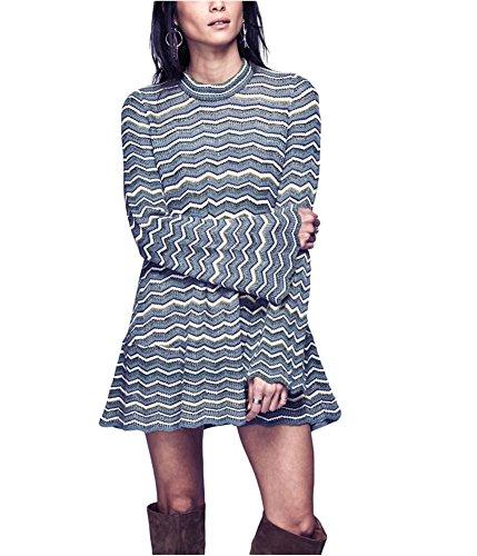 c2468af76f8 Free People Women s Ziggy Sweater Dress Blue Combo X-Small