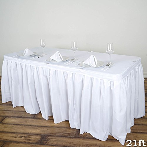 BalsaCircle 21 feet x 29-Inch White Polyester Banquet Table Skirt Linens Wedding Party Events Decorations Kitchen Dining Catering - Polyester Table Skirt 21'