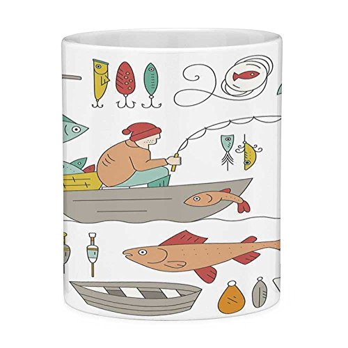 Funny Coffee Mug with Quote Nautical Decor 11 Ounces Funny Coffee Mug Fishing Gear Fisherman in the Boat Catching Fish Rod Bobber Tackle Hook Clip Work