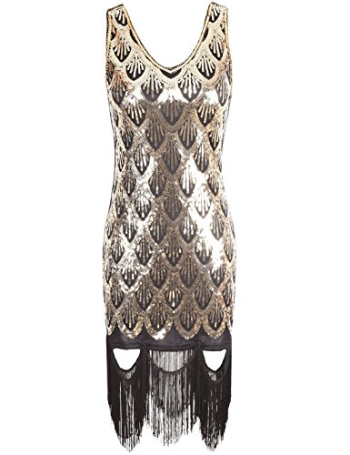 PrettyGuide 20s Great Gatsby Sequin Fishscale Embellished Fringe Flapper Dress Gold S (Twenties Dress)
