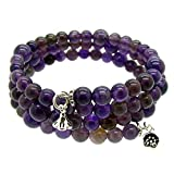 Gem Stone King Stunning 3-Raw Wrap Around Adjustable Amethyest Bracelet with 925 Silver Charm
