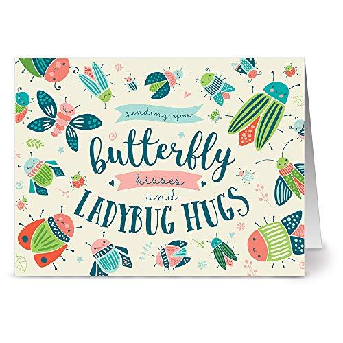 (24 Note Cards - Butterfly Kisses & Ladybug Hugs - Blank CardsRed Envelopes)