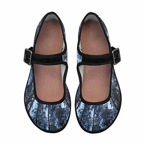 Interestprint Mujeres Comfort Mary Jane Flats Zapatos Casual Para Caminar Multi 9