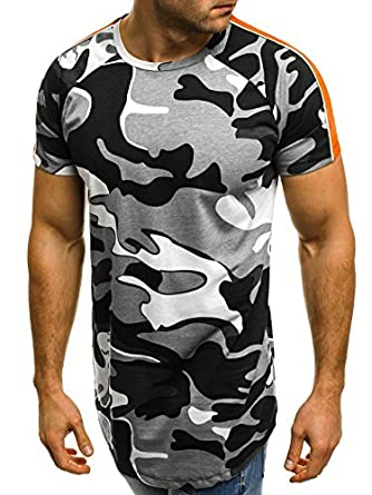 OZONEE Mix Herren T-Shirt Camouflage Motiv Kurzarm Rundhals Figurbetont bry  181118 Grau S