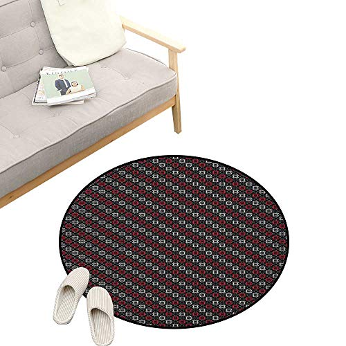 (Red and Black Round Area Rug Non-Slip ,Diagonal Pattern with Geometric Elements Stylized Square Shapes, Living Room Bedroom Coffee Table 39