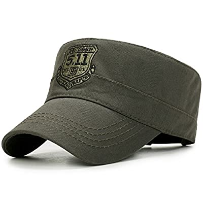 ChezAbbey Unisex Solid Brim Flat Top Cadet Caps Adjustable Snapback Corps Military Stylish Flat Top Hats with Shield in Front