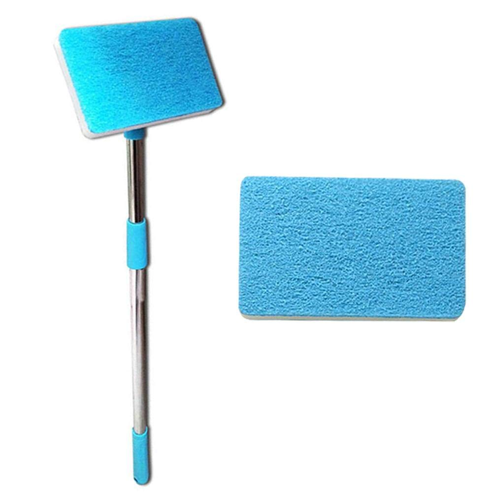 Retractable Single-Sided Sponge wash Cleaning Brush Stainless Steel Household Glass Fish Tank Sponge Scrubber Acrylic Aquarium Anti-Skid Stretch Cleaning Brush 60-90cm Adjustable