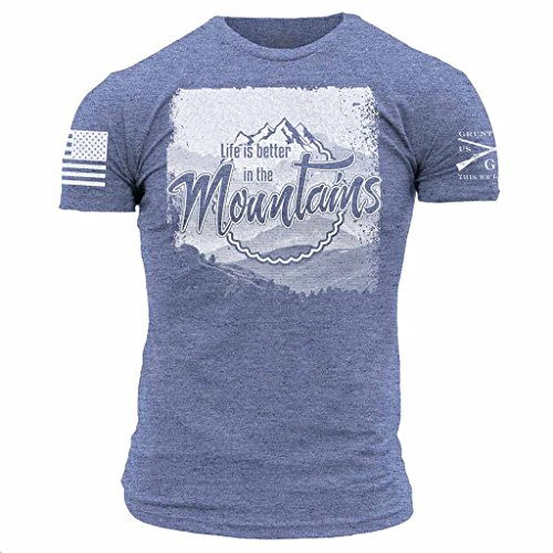 Grunt Style Outdoors Life's Better Men's T-Shirt, Color Heather Blue, Size - For Men Styles
