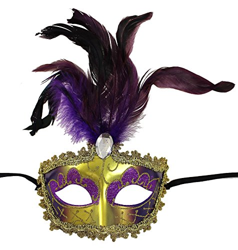Enimay Women's Venetian Feathered Masquerade Mask Halloween Party Costume Purple One Size (Feathered Masquerade Mask)