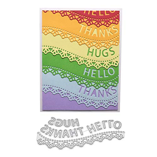 Hukai Thanks Hello Metal Cutting Dies Stencil DIY Scrapbooking Album Stamp Paper Card Embossing Crafts Decor,Good Gift for Your Kids to Cultivate Their Hands-on Ability