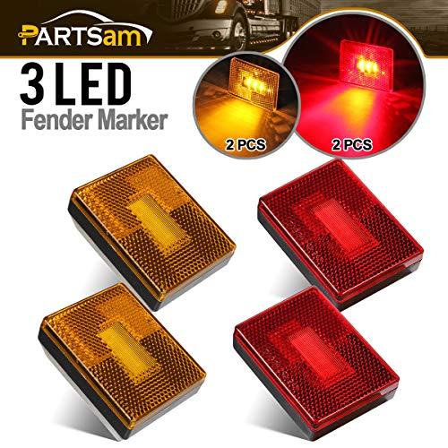 Partsam 4 Pcs(2Amber 2Red) Square LED Trailer Side Marker Light with Reflector Stud Mount 3LED, 2-4/5