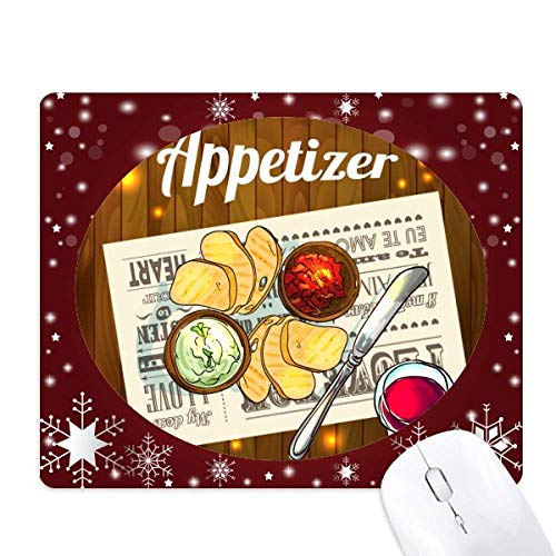 Snowflake Appetizer - Appetizer Slice of Bread Wine Mouse Pad Winter Snowflake Rubber