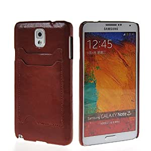 KCASE Leopard Card Pouch Hard Back Case Cover For Samsung Galaxy Note 3 N9000 Brown