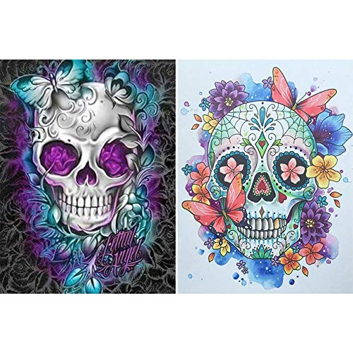 Leyzan 2 Pack 5D Diamond Painting Skull with Butterfly Full Drill Paint with Diamond Art, Skeleton Flower DIY Painting by Number Kits Embroidery Rhinestone Wall Home Decor 30x40cm (12