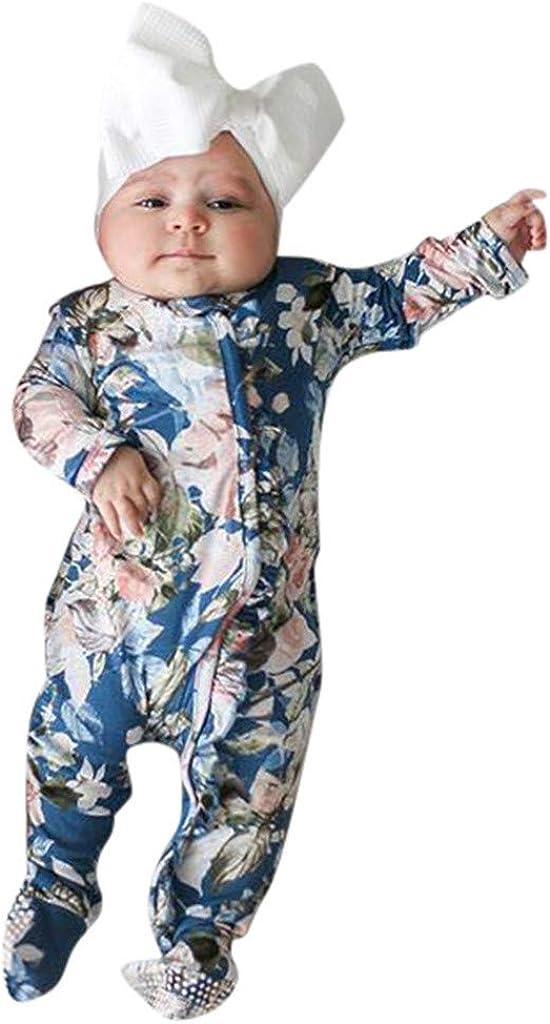 ZHMEI Mono para niños | Bebé recién Nacido bebé niña niño pie pie Mameluco Diadema Ropa Trajes 0-18 Meses