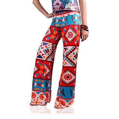 Sciolto Pantaloni Accogliente Per Tempo Vita Pantalone Cute Libero Mieuid Elastica Stampate Eleganti Larghi 9 Donna Pantaloni Larghi Chic Pantaloni Pantaloni Estivi Colour Fashion Vintage f15wvq
