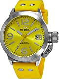 TW Steel Canteen Watch Mens - Yellow Dial Date TW Steel Watch Mens - Yellow Silicone Rubber Band 45mm Stainless Steel Watch TW520