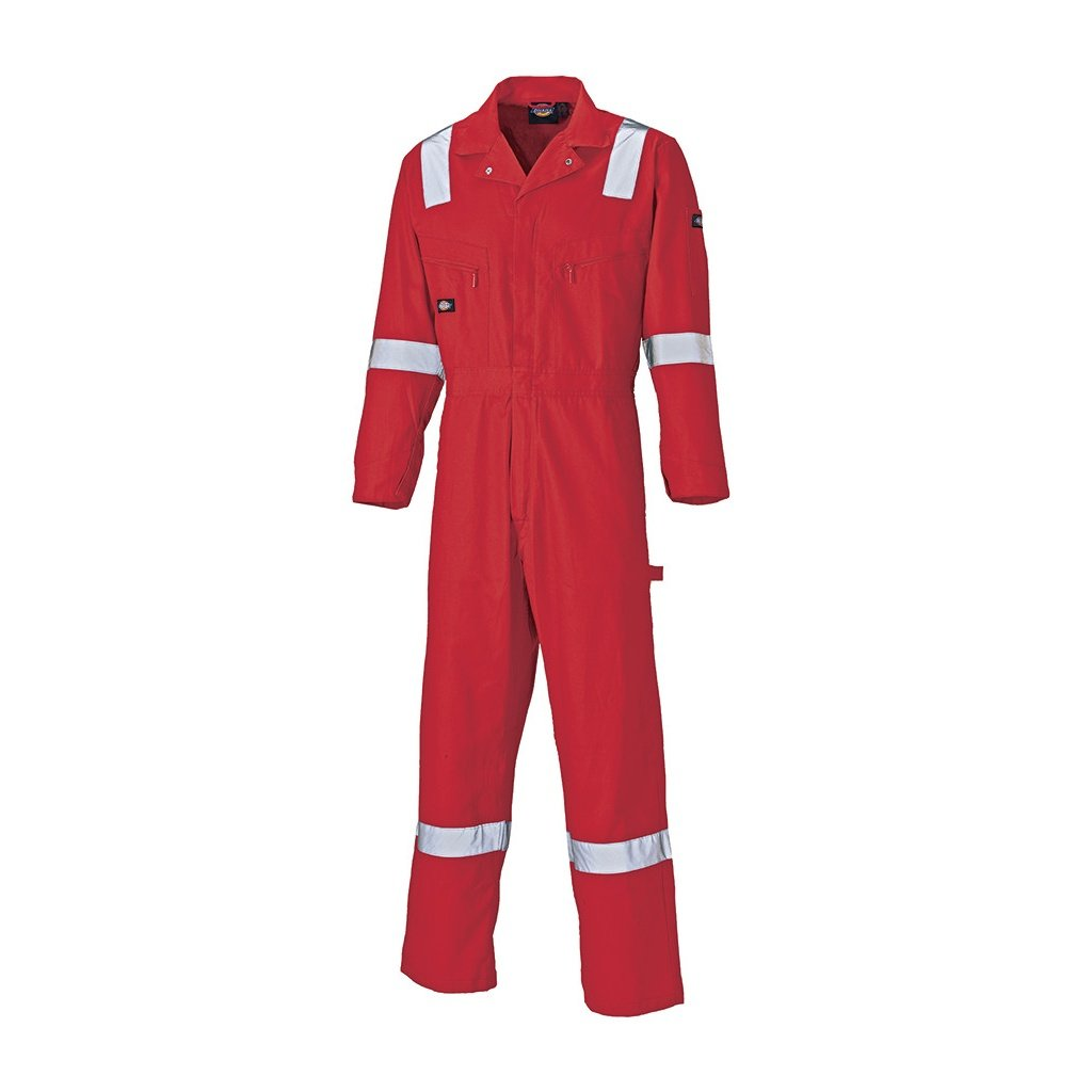 Dickies Mens Lightweight Reflective Cotton Overall/Coverall (M) (Red) by Dickies