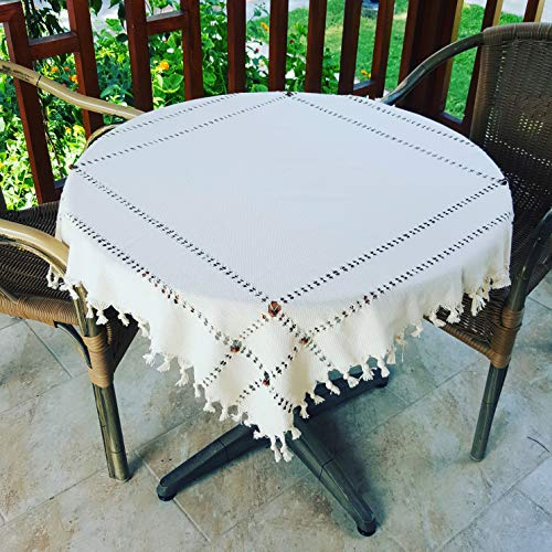 Secret Sea Collection Handmade Cotton Tablecloth Decorated with Wooden Beads and Gold Glitter (36