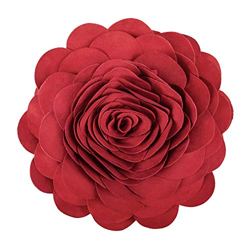 (King Rose 3D Rose Flower Home Decorative Accent Throw Pillow Suede Round Cushion for Sofa Chair Couch 14 Inches Red)